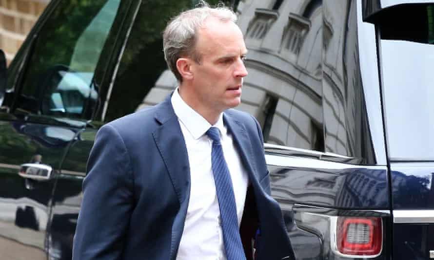 Dominic Raab arrives at No 10 Downing Street