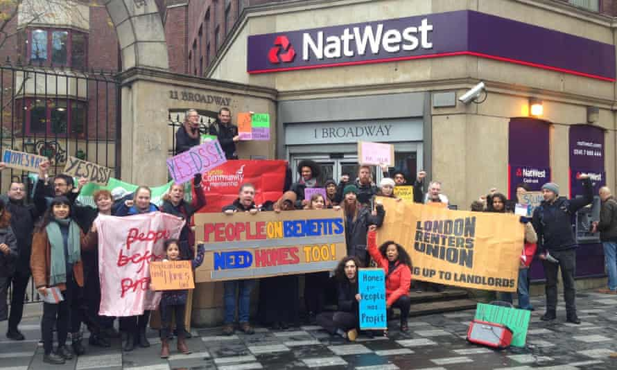 Protesters from the London Renters Union outside the NatWest in Stratford