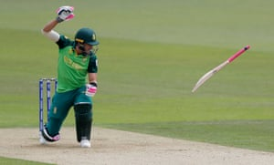 South Africa's Faf du Plessis throws his bat away after he is hit on the hand by a ball from India' Hardik Pandya at the Hampshire Bowl.