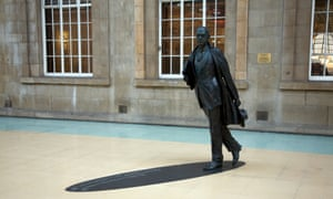 Philip Larkin statue, railway station concourse, Hull