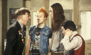 Rik Mayall, Adrian Edmondson, Nigel Planer, and Christopher Ryan in the Young Ones