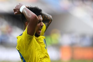 Gabon's Denis Bouanga reacts after a chance goes begging.