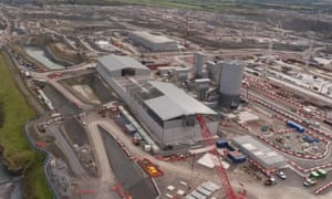 The Hinkley Point C nuclear power station under construction in Somerset.