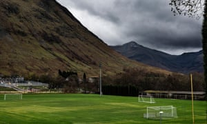 Fort William's picturesque Claggan Park, with the abandoned stand pictured bottom right.