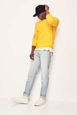 MODERN PREPPY Faded jeans and a baseball cap make a neat sweater cool Cap, £10, asos.com T-shirt with ties, £105, Craig Green farfetch.com Jeans, £145, soulland.com Trainers, £160, filippa-k.com Yellow jumper as before