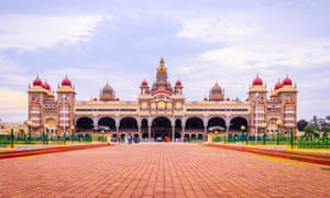 Wideangle view of Mysore Palace in Mysuru, India.