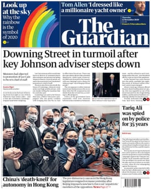 Guardian front page, Thursday 12 November 2020