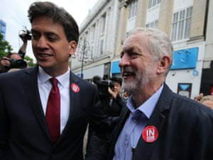 Ed Miliband and Jeremy Corbyn campaigning in Doncaster.