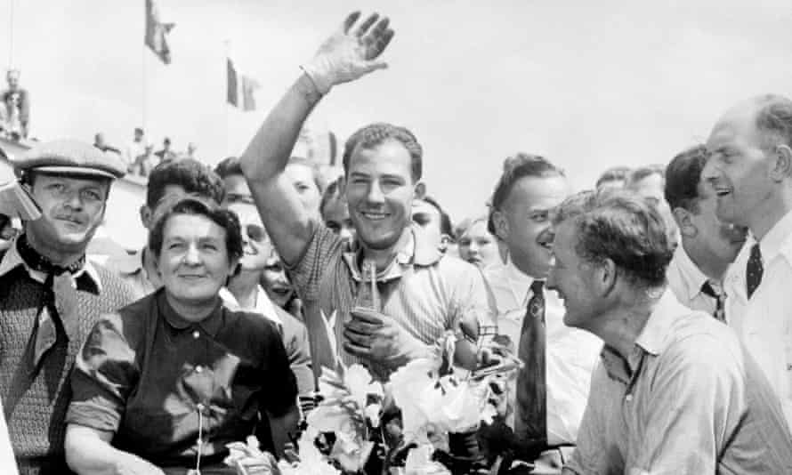 Stirling Moss after winning the 12-hour race at Reims in 1953