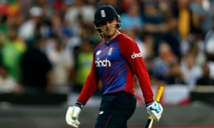 A cheesed off looking England's Jason Roy heads back to the pavilion after being caught out by Pakistan's Fakhar Zaman off the bowling of Usman Qadir.