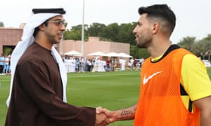 Sheikh Mansour with Manchester City's Sergio Agüero in Abu Dhabi during 2017.