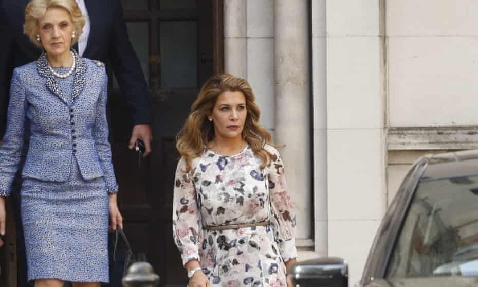 Princess Haya leaves the high court in London with her lawyer Fiona Shackleton, left, in July 2019.