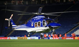 Vichai Srivaddhanaprabha's helicopter lands on the pitch at the King Power in 2017.