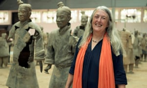 Mary Beard, pictured with China's Terracotta Army, is one of three Civilisations presenters.