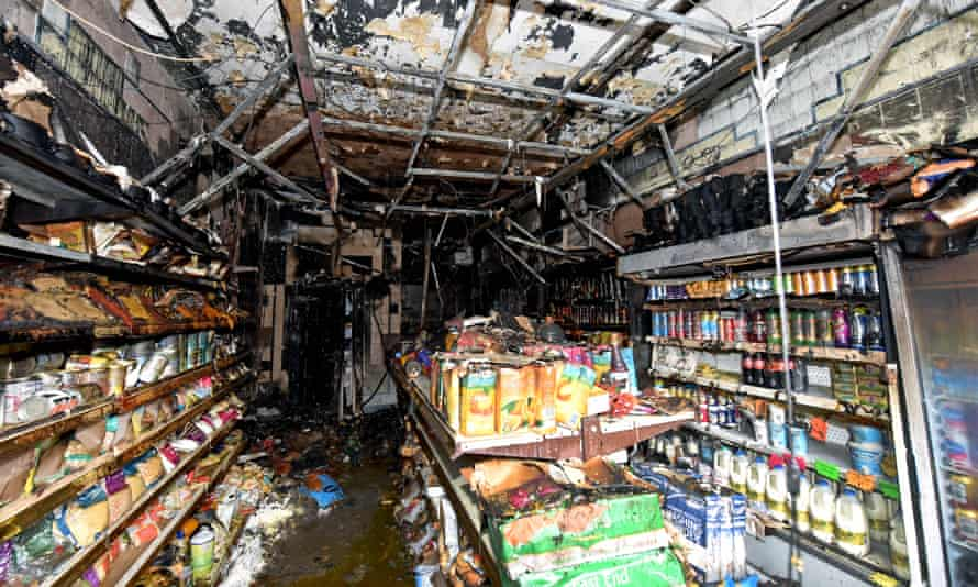 Burned interior of the Kashmir Meat and Poultry shop in Walsall, after it was firebombed on Monday night.