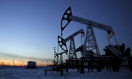 Pump jacks at the Imilorskoye oil field in western Siberia