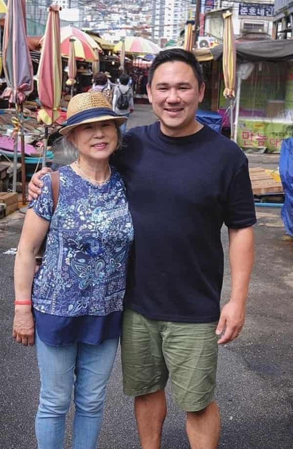 Rob Allison with his mother in Busan, 2017.
