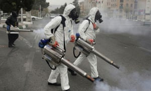 Disinfecting the streets of Tehran before the Iranian new year.