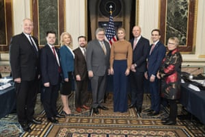 Peter Dutton (third right) with top White House officials Kellyanne Conway William Barr and Ivanka Trump during Dutton's trip to the US where he caught coronavirus.