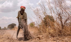 A woman plows the field at a farm where 50 women work in Nyamlel, South Sudan.