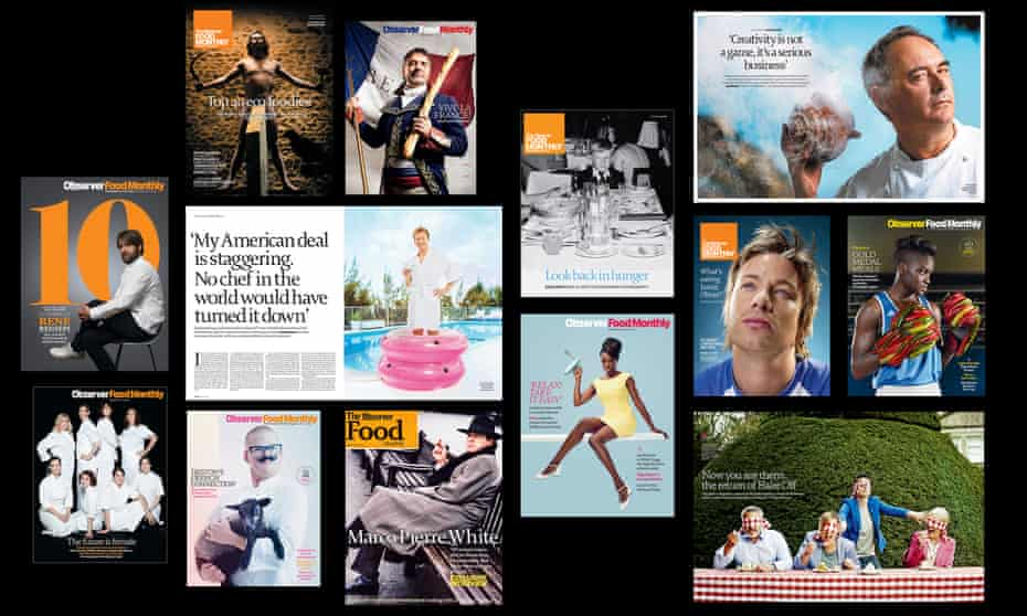 Twenty years of striking OFM covers and imagery including René Redzepi, Ferran Adrià, the original Bake Off team and Marco Pierre White on the cover of the first issue