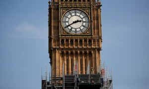 Scaffolding surrounds the Elizabeth Tower, home to the Big Ben bell.