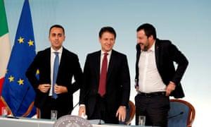 From left: Luigi Di Maio, Giuseppe Conte and Matteo Salvini