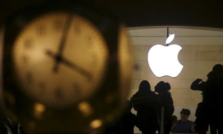 File photo of the Apple logo pictured behind the clock at Grand Central Terminal in the Manhattan borough of New York