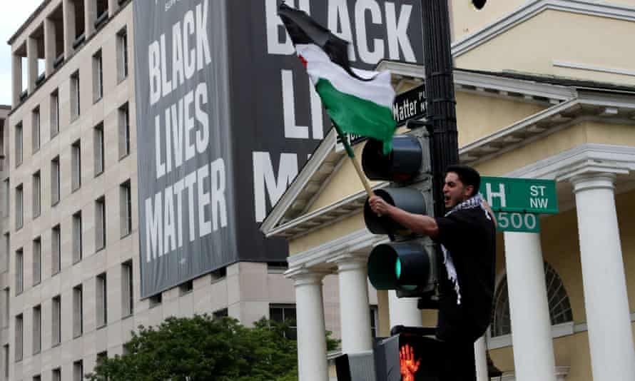 Pro-Palestinian demonstrators take part in a protest titled 'Stop Jerusalem Expulsions, save Sheikh Jarrah' outside of the White House in Black Lives Matter Plaza in Washington last month.