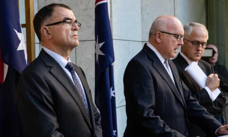Head of the royal commission into abuses in the Northern Territory juvenile justice system Brian Martin with Malcolm Turnbull and George Brandis on Thursday.