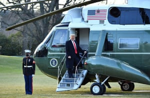 Donald Trump boards Marine One as he departs the White House for the final time before the inauguration of President-elect Joe Biden.