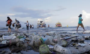 Trash pollutes the beach in Bali, Indonesia.