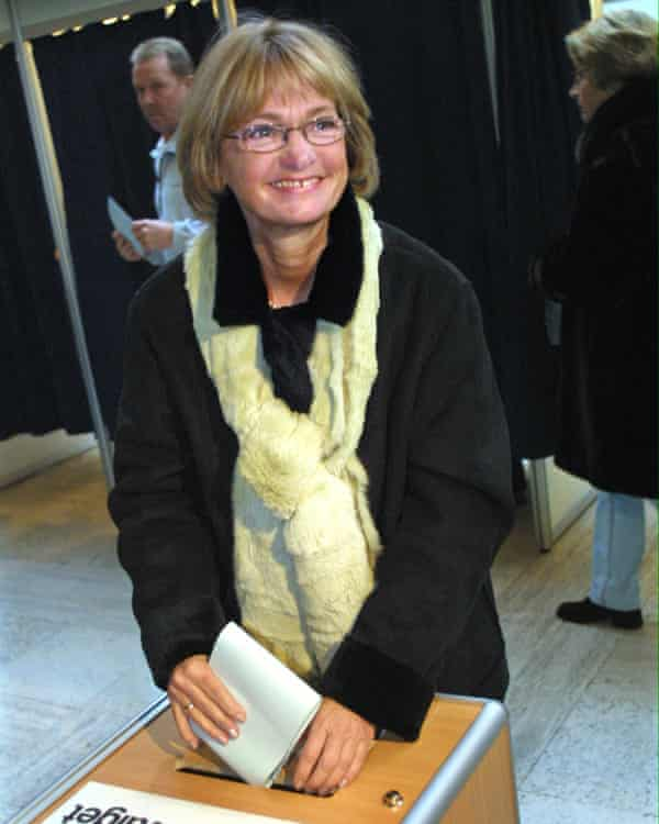 The founder of the far-right Danish People's Party, Pia  Kjærsgaard.