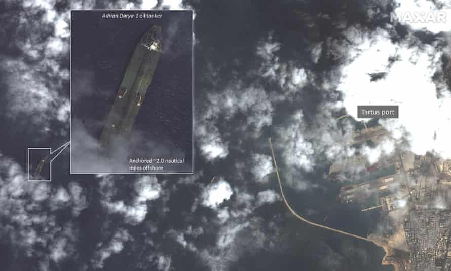 Satellite image by Maxar Technologies apparently shows Iranian tanker off Tartus, Syria.