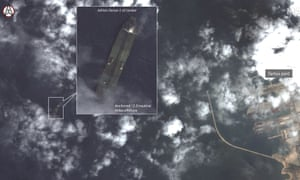 Satellite image said to show the Iranian oil tanker Adrian Darya-1, formerly the Grace 1, off the coast of Tartus, Syria.