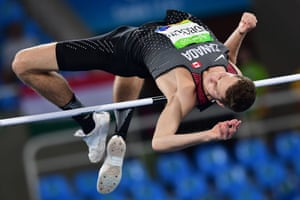 Canada's Derek Drouin competes on his way to winning the men's high jump.
