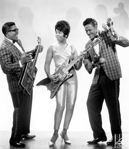 'Part of the sound' … Bo Diddley, left, with guitarist The Duchess and percussionist Jerome Green, 1957.