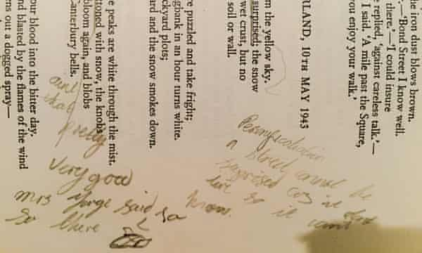 Annotation to South Cumberland, 10th May 1943 by Norman Nicholson in a school poetry anthology, from an exhibition at Cambridge University library.