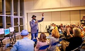 Preaching on the tour.