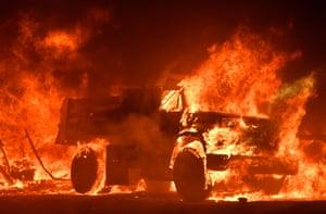 A truck burns