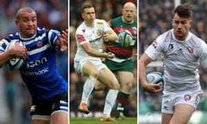 Bath's Jonathan Joseph; Exeter's Joe Simmonds; Gloucester's Mark Atkinson.