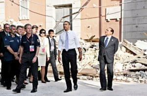 July 2009:US President Barack Obama and Italian Prime Minister Silvio Berlusconi look over the damage caused by the April earthquake in the historical centre of L'Aquila, Italy