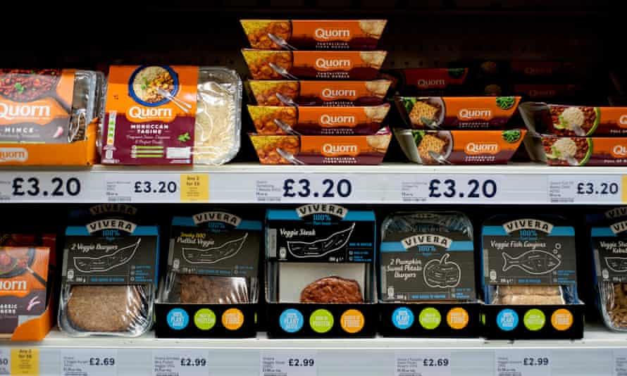 Vegetarian and vegan food ranges at a UK supermarket