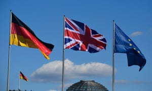(R-L) The European Union, British and German flags fly at the chancellery in Berlin on July 20, 2016 ahead of the visit of British Prime Minister Theresa May.
