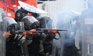 Police fire tear gas at protesters in Yuen Long, New Territories, Hong Kong