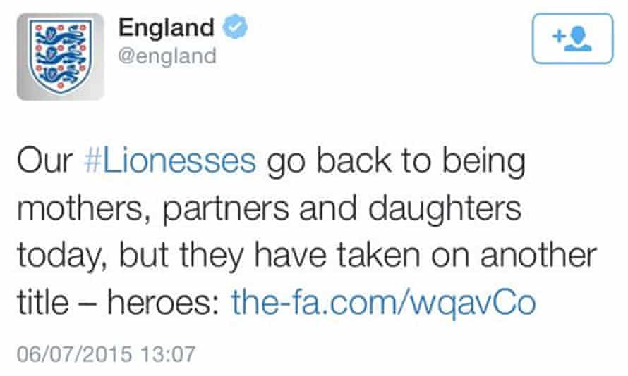 England's official Twitter account was roundly criticised for this tweet about England's female football team, which was later deleted.