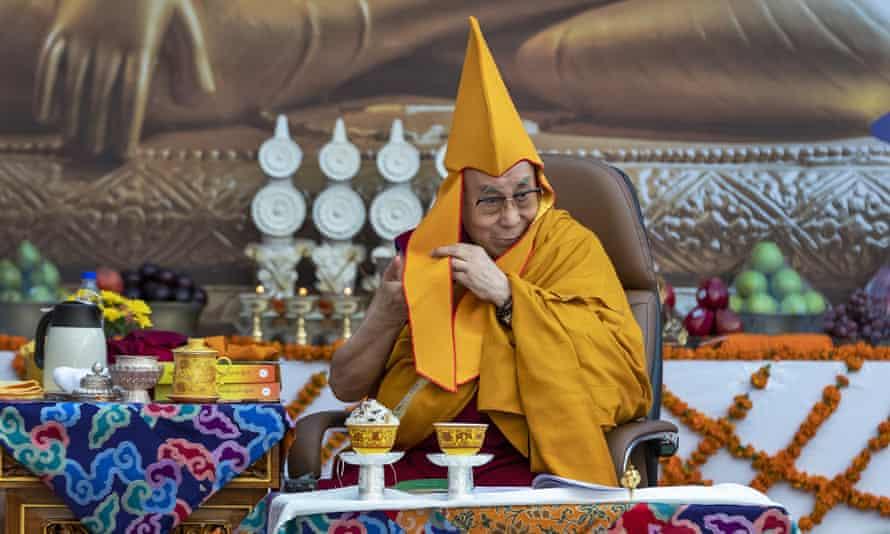 The Dalai Lama in ceremonial wear at the Kirti Monastery in Dharamshala, India.
