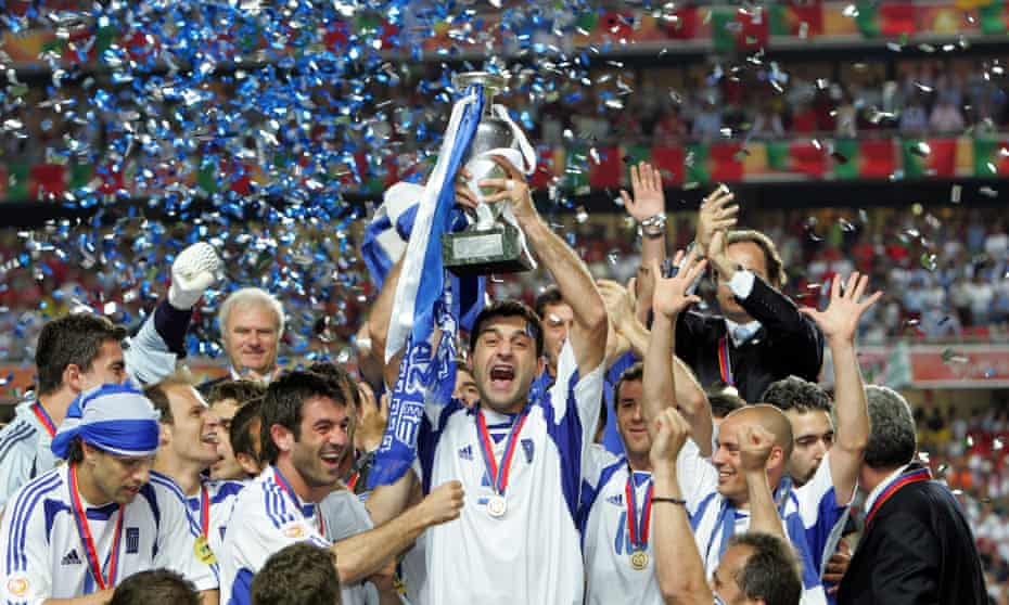 Greece players celebrate perhaps the most unlikely of European Championship victories in 2004