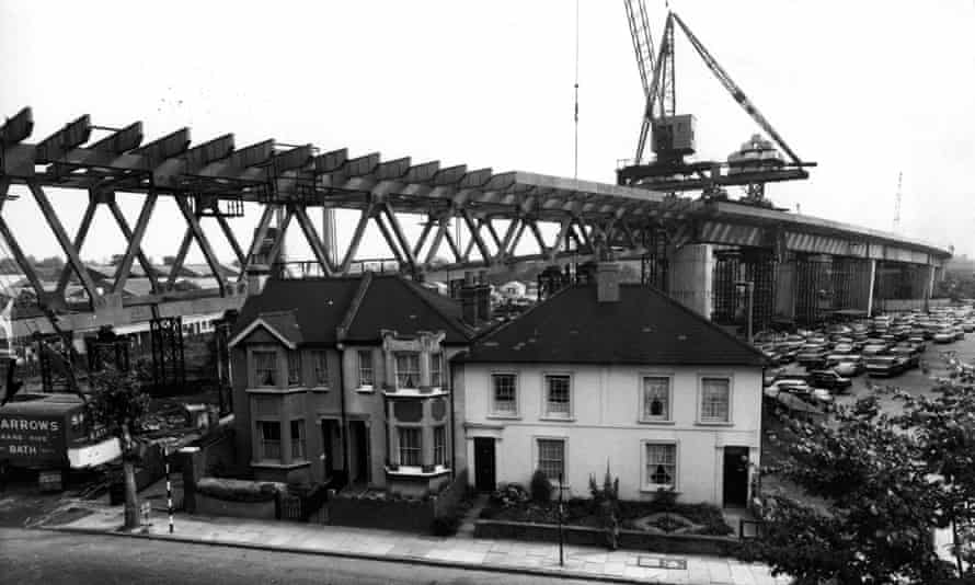 The Chiswick Fly-over link under construction in 1964 in west London.