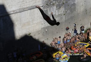 Mostar, BosniaA diver jumps 25 metres into the Neretva river from the Old Mostar Bridge during the country's annual high diving competition